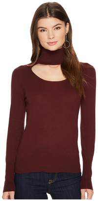 1 STATE 1.STATE Long Sleeve Scoop Front Turtleneck Sweater Women's Sweater
