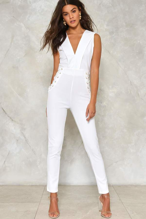 nastygal High Seas Lace-Up Jumpsuit