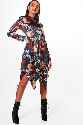 boohoo High Neck Long Sleeve Midi Dress
