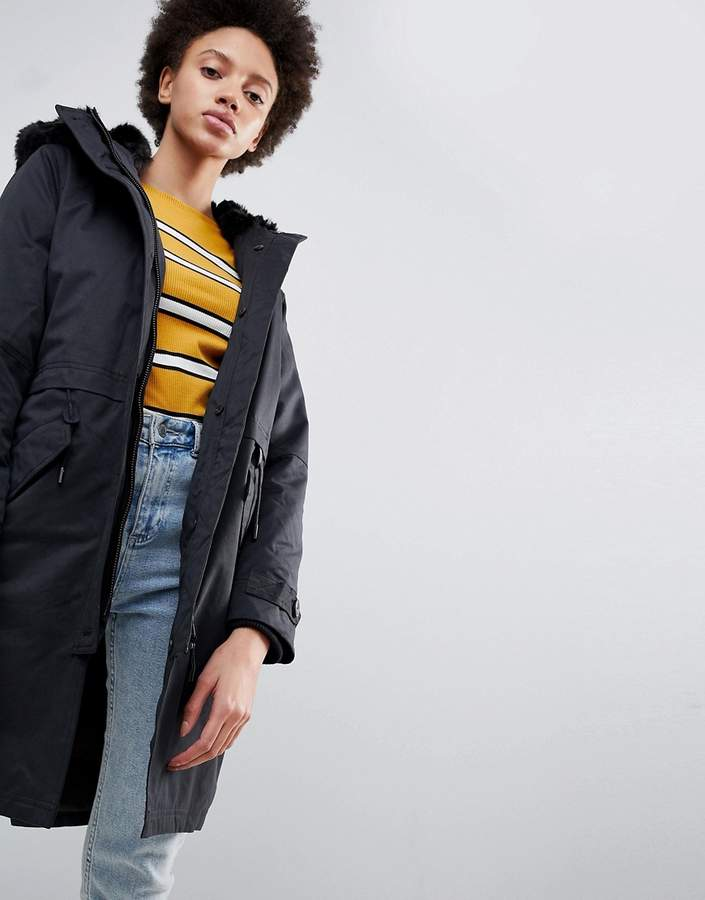 Parka London Lucinda Parka Coat with Faur Fur Trim Hood