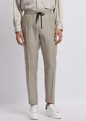 Emporio Armani Linen Chambray Trousers With Drawstring Waist