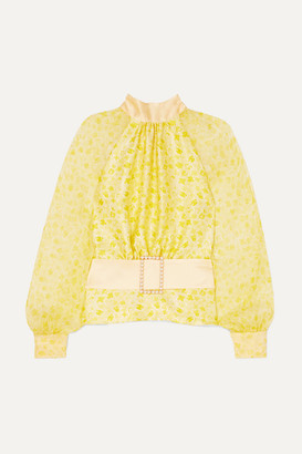 HARMUR - Open-back Floral-print Silk-satin And Crepon Blouse - Pastel yellow