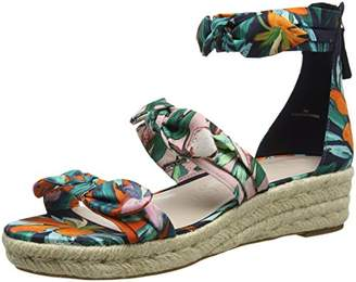 Nine West Women's ALLEGRO2 Platform Sandals, Multicolour (Navy Pink Orange Multi CU)