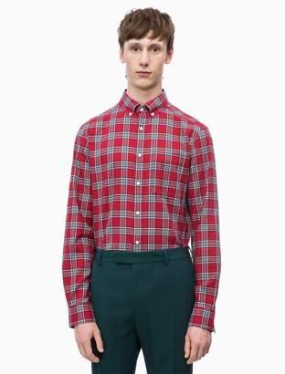 Calvin Klein slim fit cotton twill check shirt