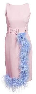 Prada Women's Cady Feather-Trim Belted Sheath Dress