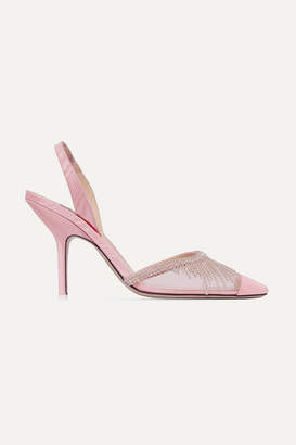 ATTICO Crystal-embellished Mesh And Moire Slingback Pumps - Baby pink
