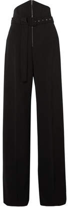 Antonio Berardi Belted Cady Wide-leg Pants - Black