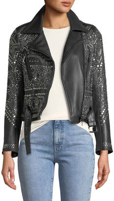 Moto Nour Hammour Studded Lambskin Leather Classic Jacket
