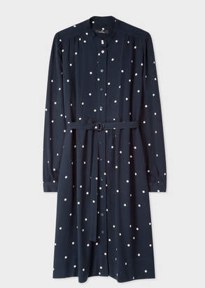 Paul Smith Women's Navy Polka Dot Henley Shirt Dress