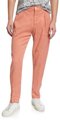 Marco Pescarolo Men's Linen-Cotton Pleated Pants, Orange