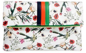 Clare V. Floral Leather Foldover Clutch - White $235 thestylecure.com