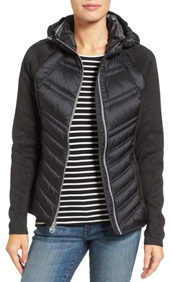 Women's Michael Michael Kors Mixed Media Hooded Down Jacket $188 thestylecure.com