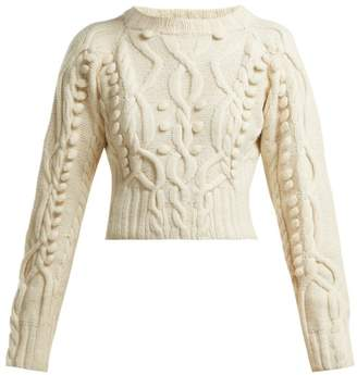 Spencer Vladimir - Cable Knit Merino Wool Blend Cropped Sweater - Womens - Cream
