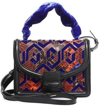 Dries Van Noten Women's Velvet & Python-Embossed Leather Shoulder Bag