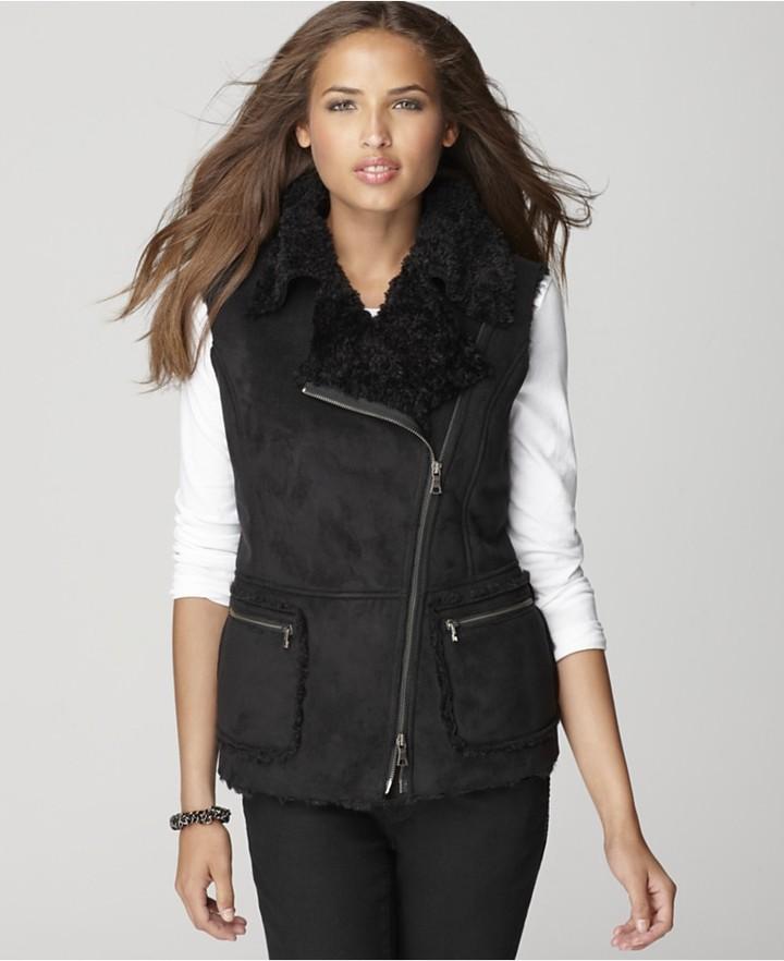 DKNYC Jacket, Sleeveless Faux Shearling Moto Vest