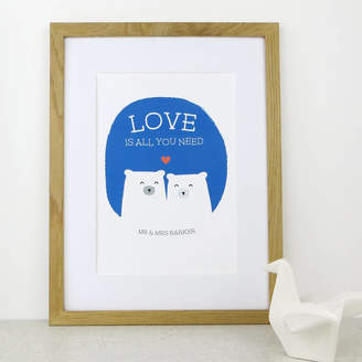 Wink Design Bear Love Anniversary Wedding Gift Print
