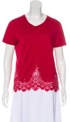 The Kooples Lace-Accented Short Sleeve Top