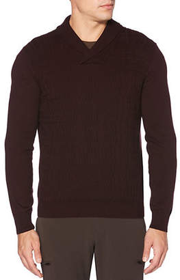 Perry Ellis Shawl Collar Cable-Knit Sweater