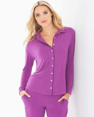 Cool Nights Long Sleeve Notch Collar Pajama Top Rio Plum