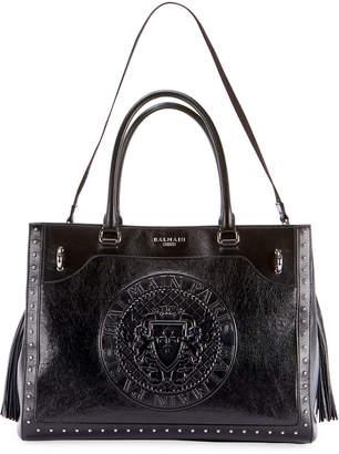 Balmain Crinkled Patent Top Handle Bag