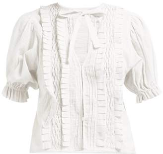 Innika Choo Smocked Checked Cotton Blouse - Womens - White