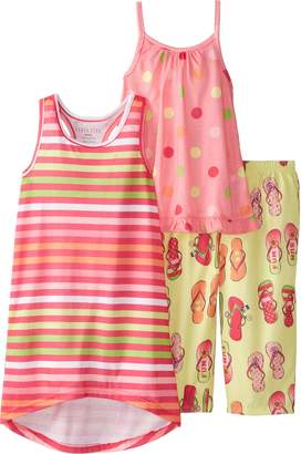 Komar Kids Big Girls' Flip Flop Fun Sun 3 Piece Pajama Set