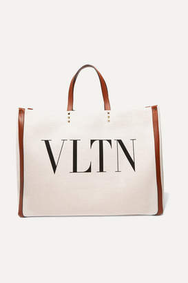 Valentino Garavani Plage Large Leather-trimmed Printed Canvas Tote - Neutral