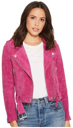 Blank NYC Real Suede Moto Jacket in Fuchsia Women's Coat