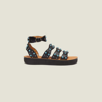 Sandro Wedge sandals with beading