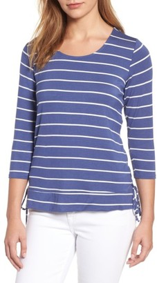 Women's Bobeau Stripe Side Tie Tee $49 thestylecure.com