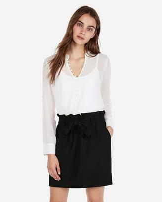 Express Slim Fit Ruffle Chiffon Portofino Shirt