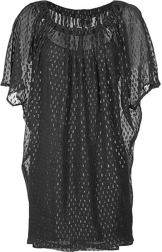 HALSTON HERITAGE Black Shirred Neck Silk Chiffon Dress