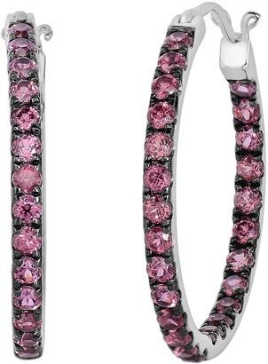 Swarovski Oro Leoni Sterling Silver Rhodolite Garnet Inside-Out Hoop Earrings - Made with Genuine Gemstones