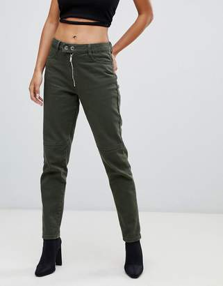 Missguided riot high rise mom jean in khaki