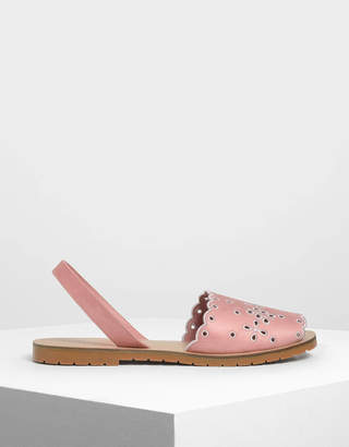 Charles & Keith Scalloped Floral Slingback Flats