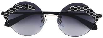 Bulgari textured round sunglasses