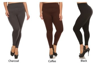 K-Cliffs 3 Pack Lady's Full Length Seamless FLEECE Leggings, Plus Size/One Size, Black/Coffee/Charcoal