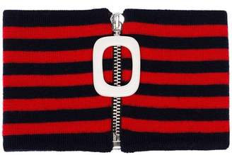 J.W.Anderson red and blue striped knitted wool neckband