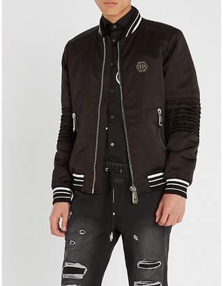 Philipp Plein Logo-embellished satin bomber jacket