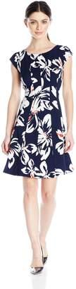 Robbie Bee Women's Petite Cap Sleeve Dress, Navy/Coral