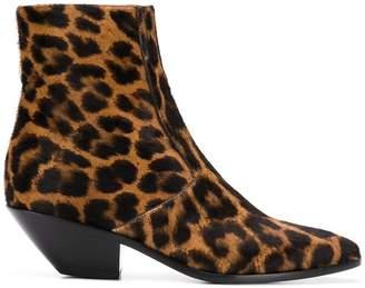 Saint Laurent Leo animal-print ankle boots