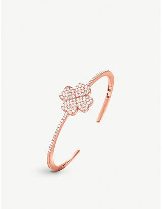 Folli Follie Miss Heart4Heart four-leaf clover rose gold-plated and cubic zirconia bangle