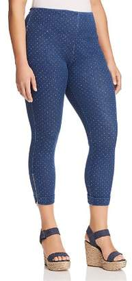 Lysse Plus Polka-Dot Denim Zip-Cuff Crop Leggings