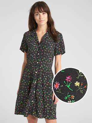 Gap Fit and Flare Button-Front Floral Print Dress