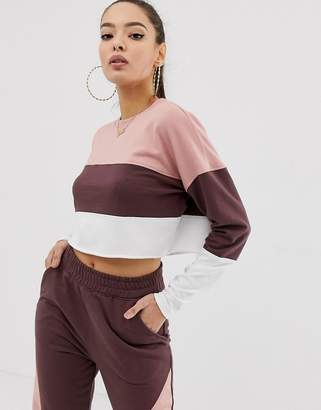 Missguided co-ord contrast panel cropped sweat