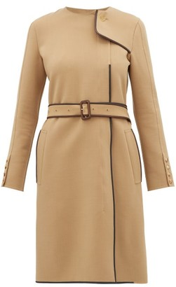 Burberry Leather Trim Belted Wool Blend Coat - Womens - Beige