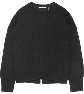 Helmut Lang - Open-back Ribbed Wool And Cashmere-blend Sweater - Black $395 thestylecure.com