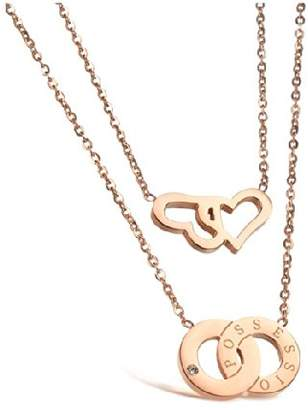 Athena LOVE Beauties Jewelry Titanium Series Rose Gold Plated Pendant Necklace Korean Love Style in a Gift Box