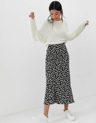 Asos Design DESIGN daisy print bias cut maxi skirt