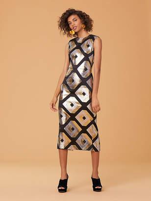 Diane von Furstenberg Metallic Cube Sheath Dress